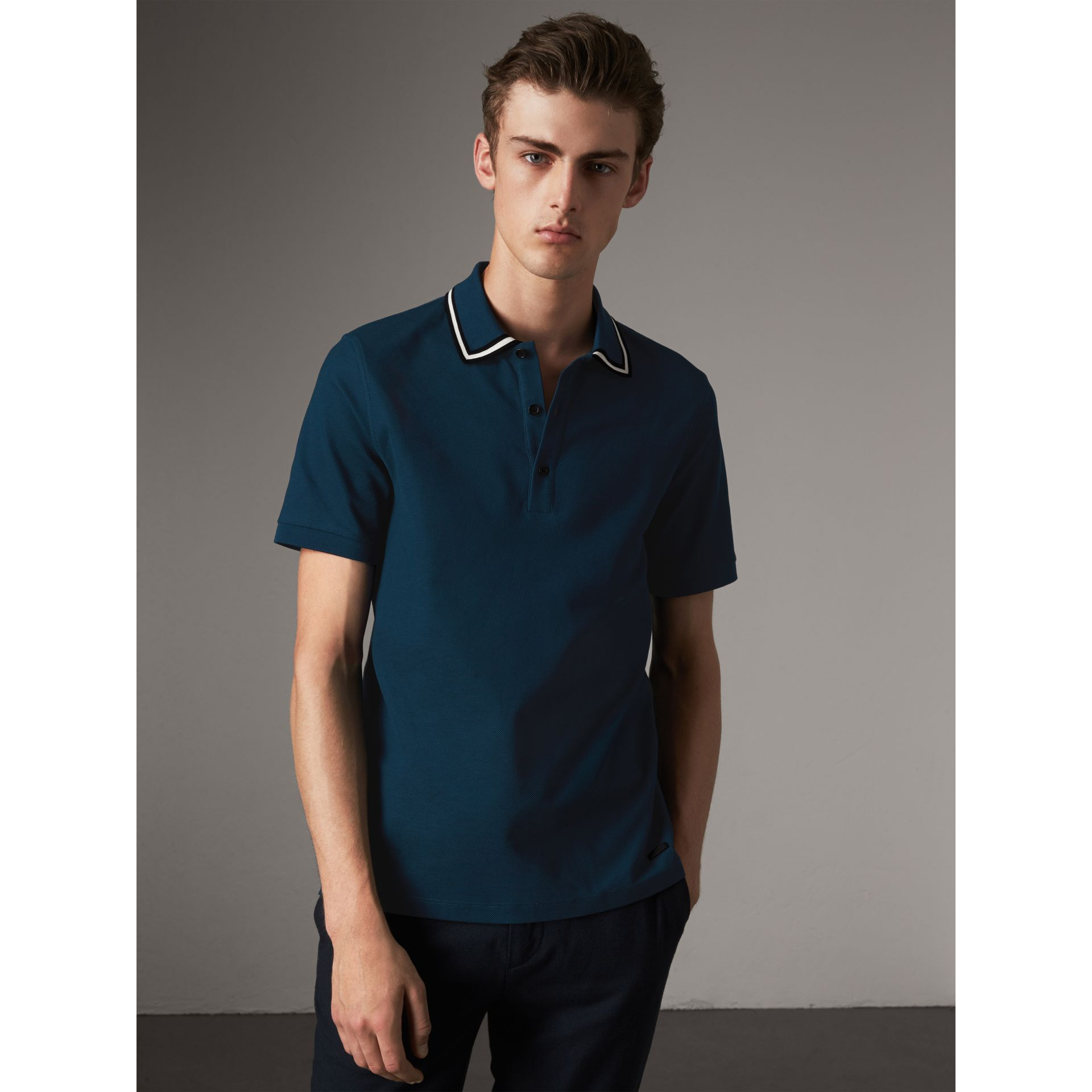 Striped Collar Cotton Piqué Polo Shirt in Canvas Blue - Men | Burberry - gallery image 1