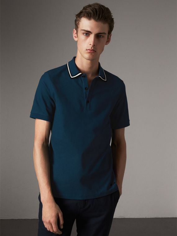 Striped Collar Cotton Piqué Polo Shirt in Canvas Blue