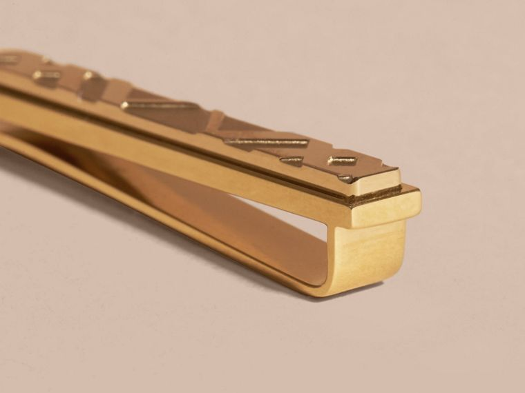 Check-engraved Tie Bar in Pale Gold - Men | Burberry - cell image 1