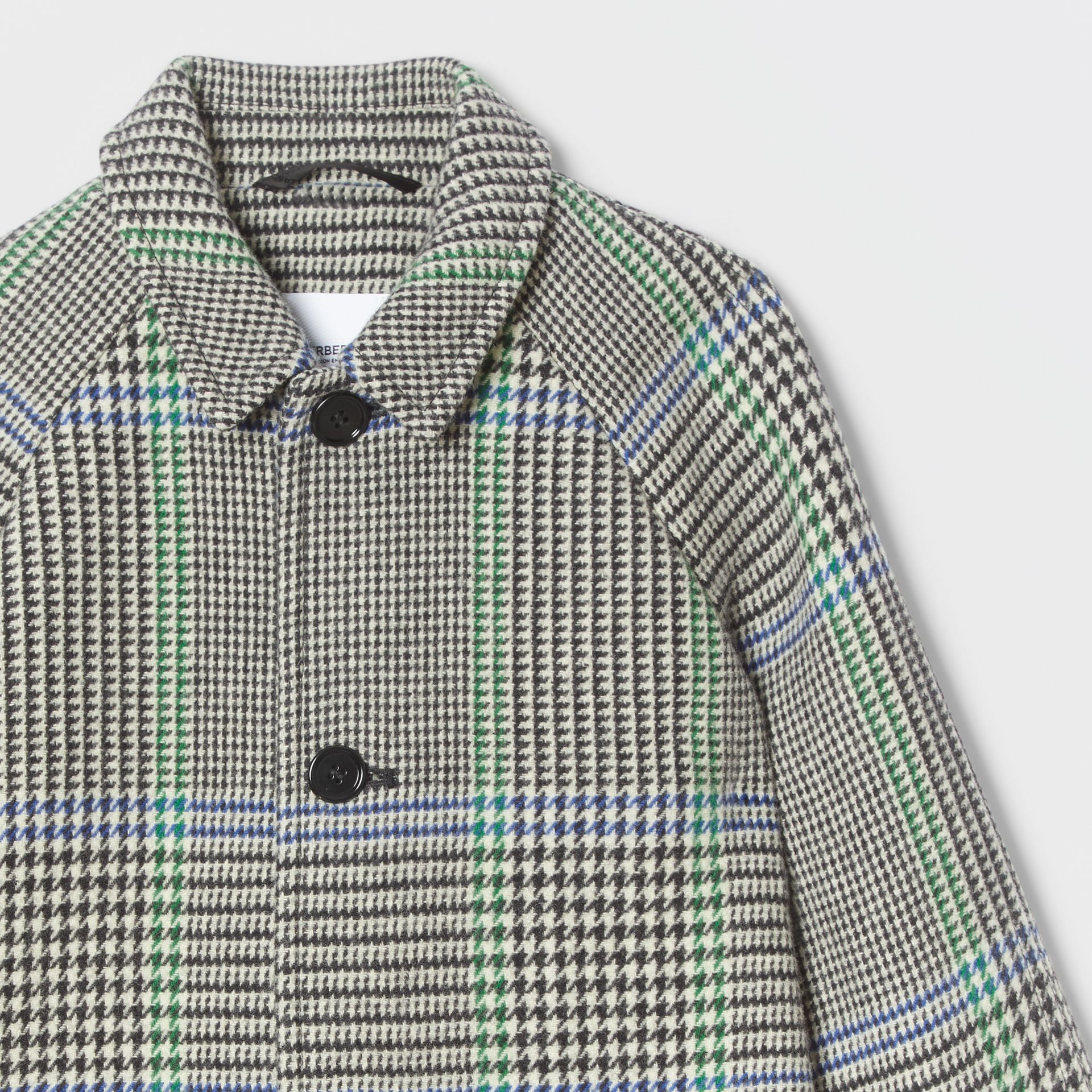 Houndstooth Check Wool Blend Car Coat in Clover Green | Burberry - gallery image 3