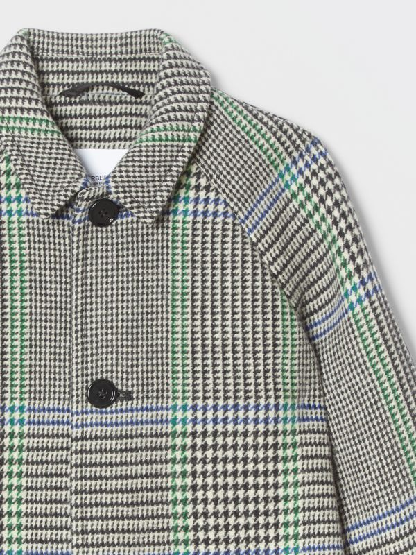Houndstooth Check Wool Blend Car Coat in Clover Green | Burberry - cell image 3