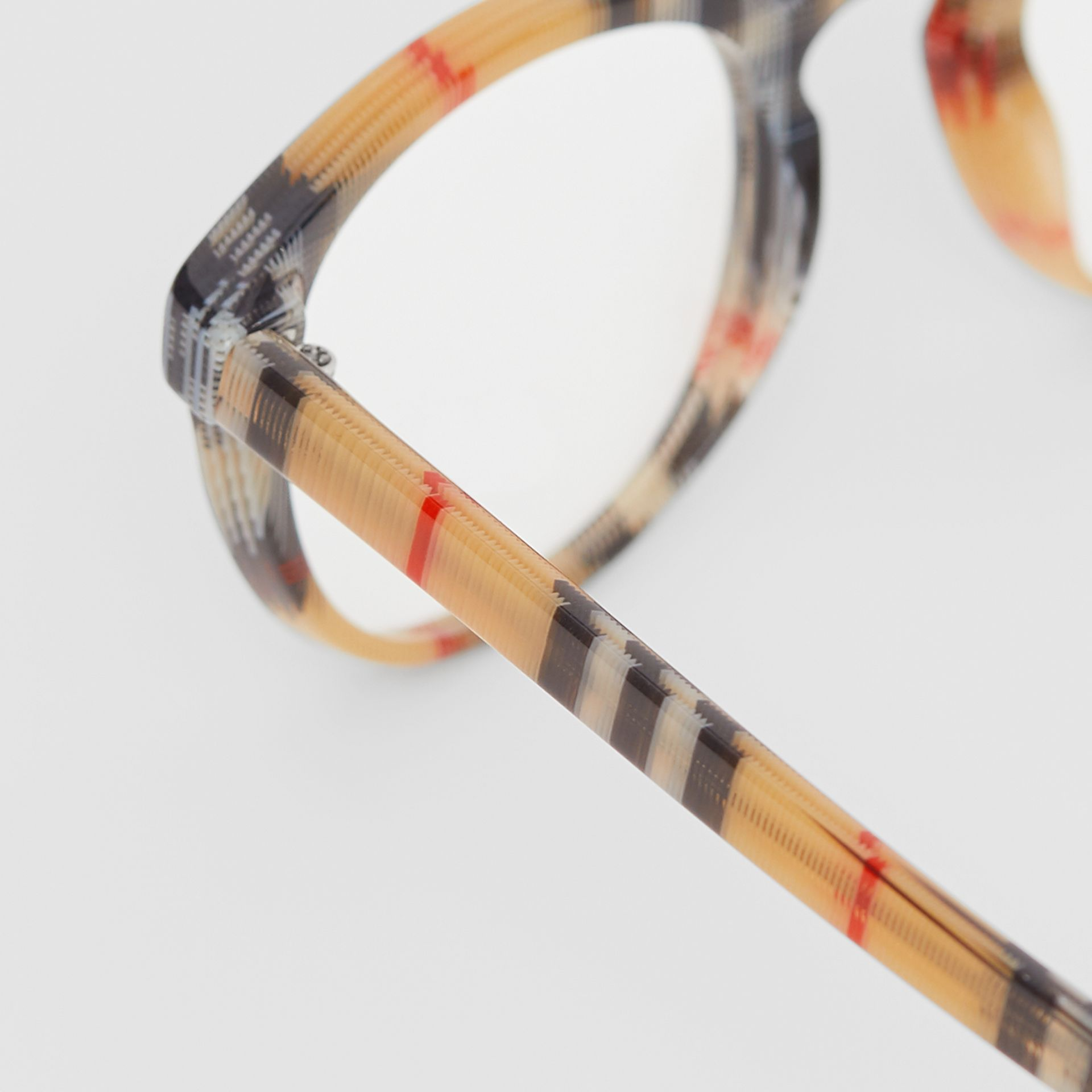 Vintage Check Round Optical Frames in Antique Yellow - Men | Burberry United States - gallery image 1