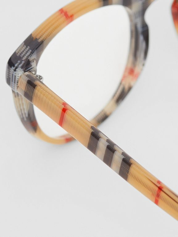 Vintage Check Round Optical Frames in Antique Yellow - Men | Burberry - cell image 1