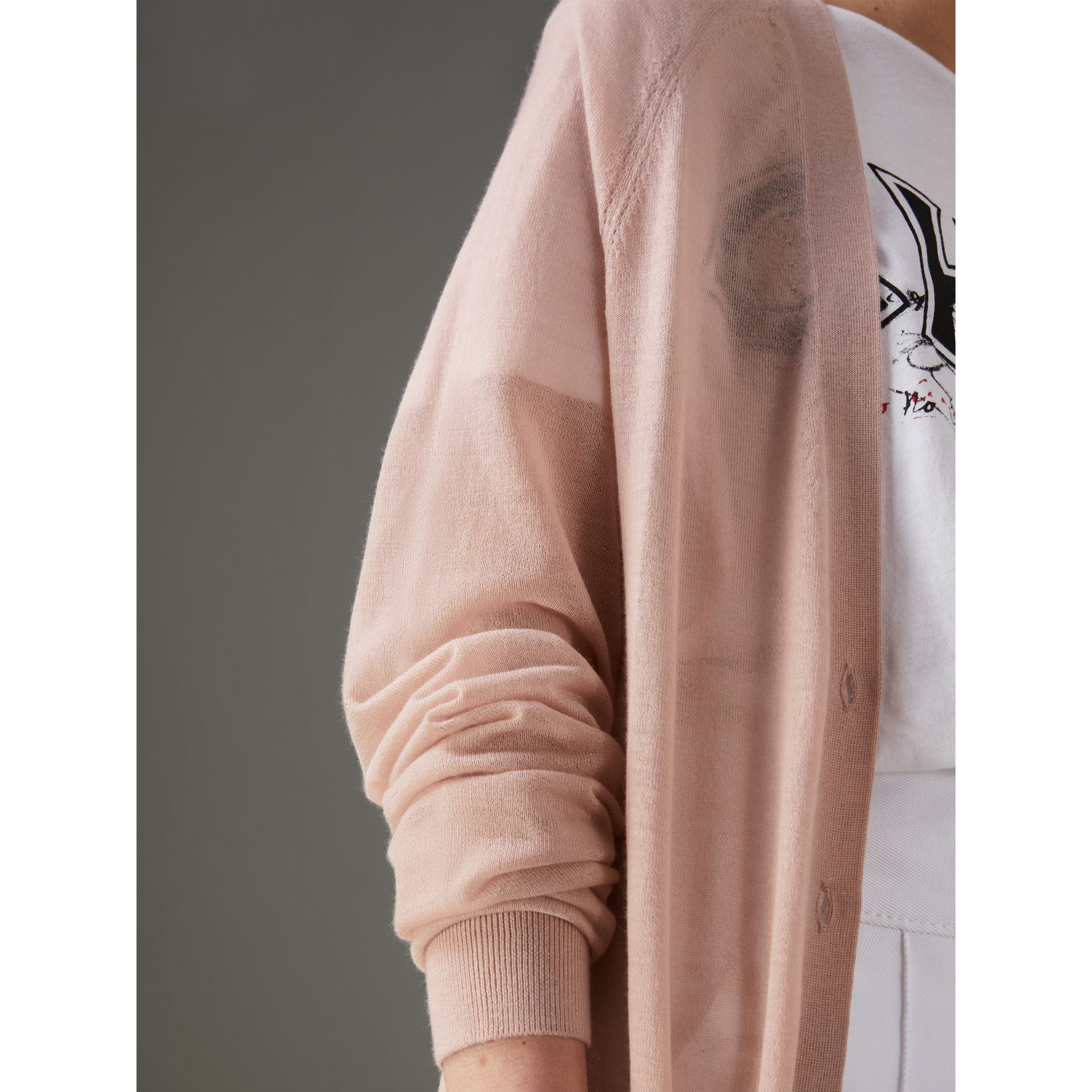Open-stitch Detail Cashmere Cardigan in Thistle Pink - Women | Burberry Australia - gallery image 1