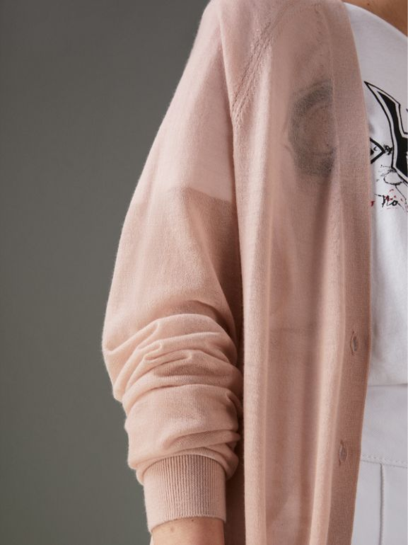 Open-stitch Detail Cashmere Cardigan in Thistle Pink - Women | Burberry - cell image 1