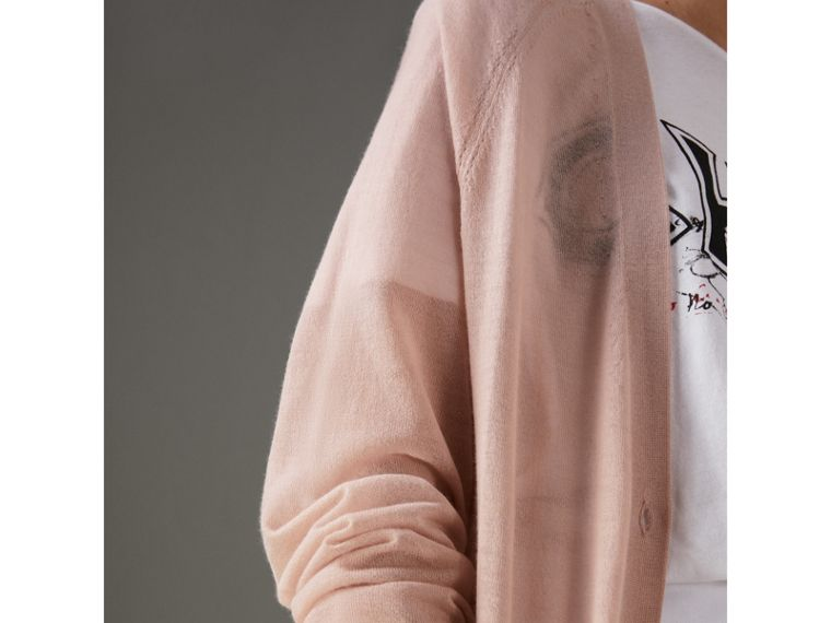 Open-stitch Detail Cashmere Cardigan in Thistle Pink - Women | Burberry Australia - cell image 1