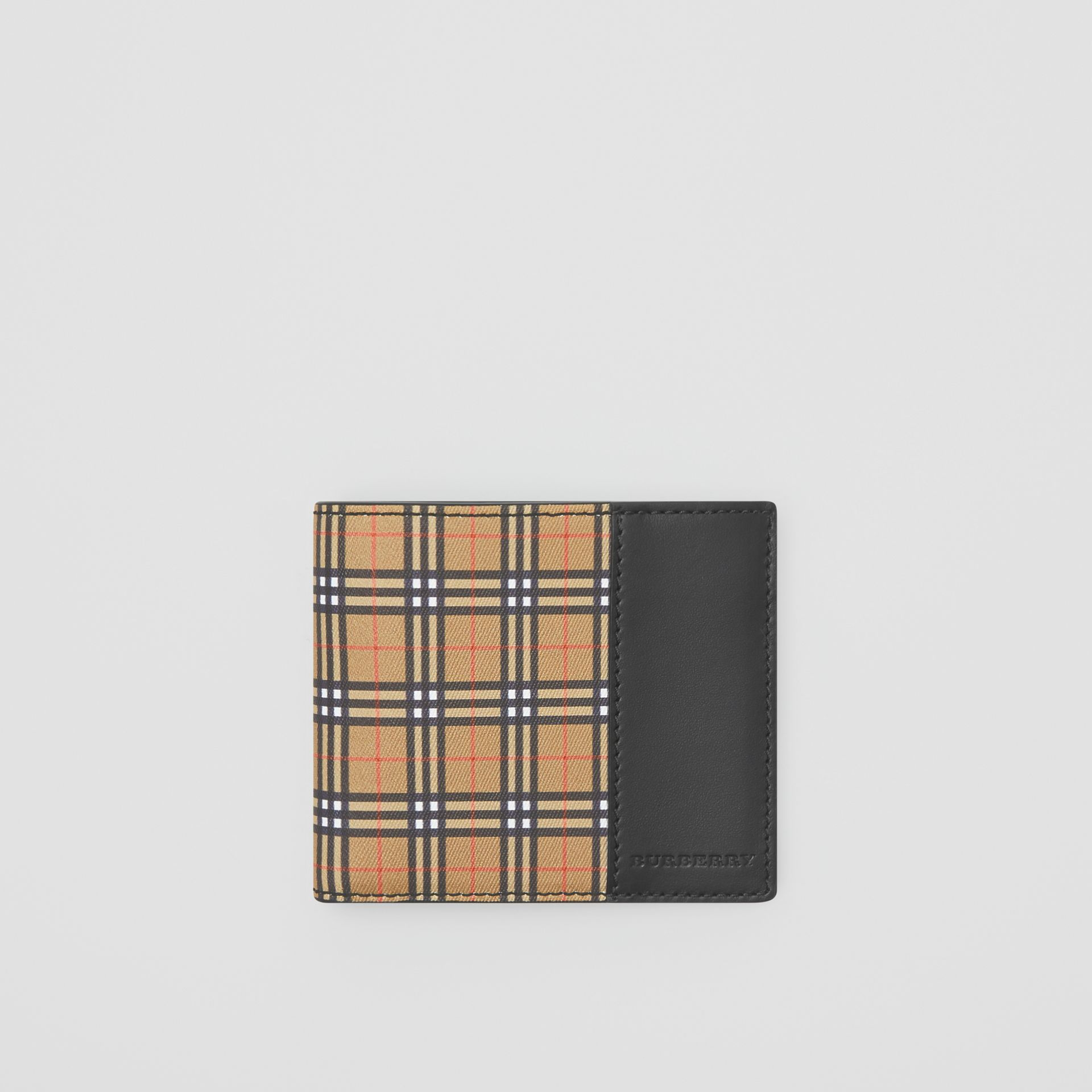 Small Scale Check and Leather ID Wallet in Antique Yellow/black - Men | Burberry - gallery image 0