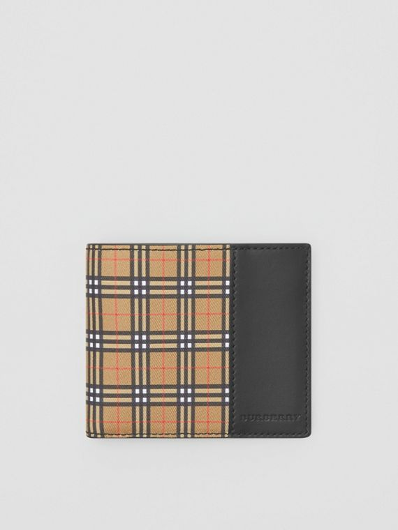 Small Scale Check and Leather ID Wallet in Antique Yellow/black