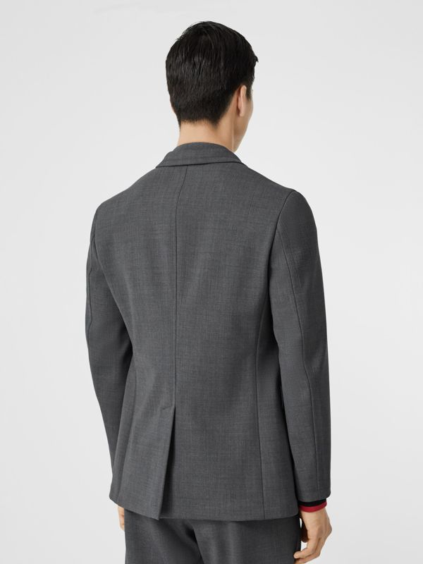 Stripe Detail Stretch Wool Neoprene Tailored Jacket in Dark Grey Melange - Men | Burberry - cell image 2