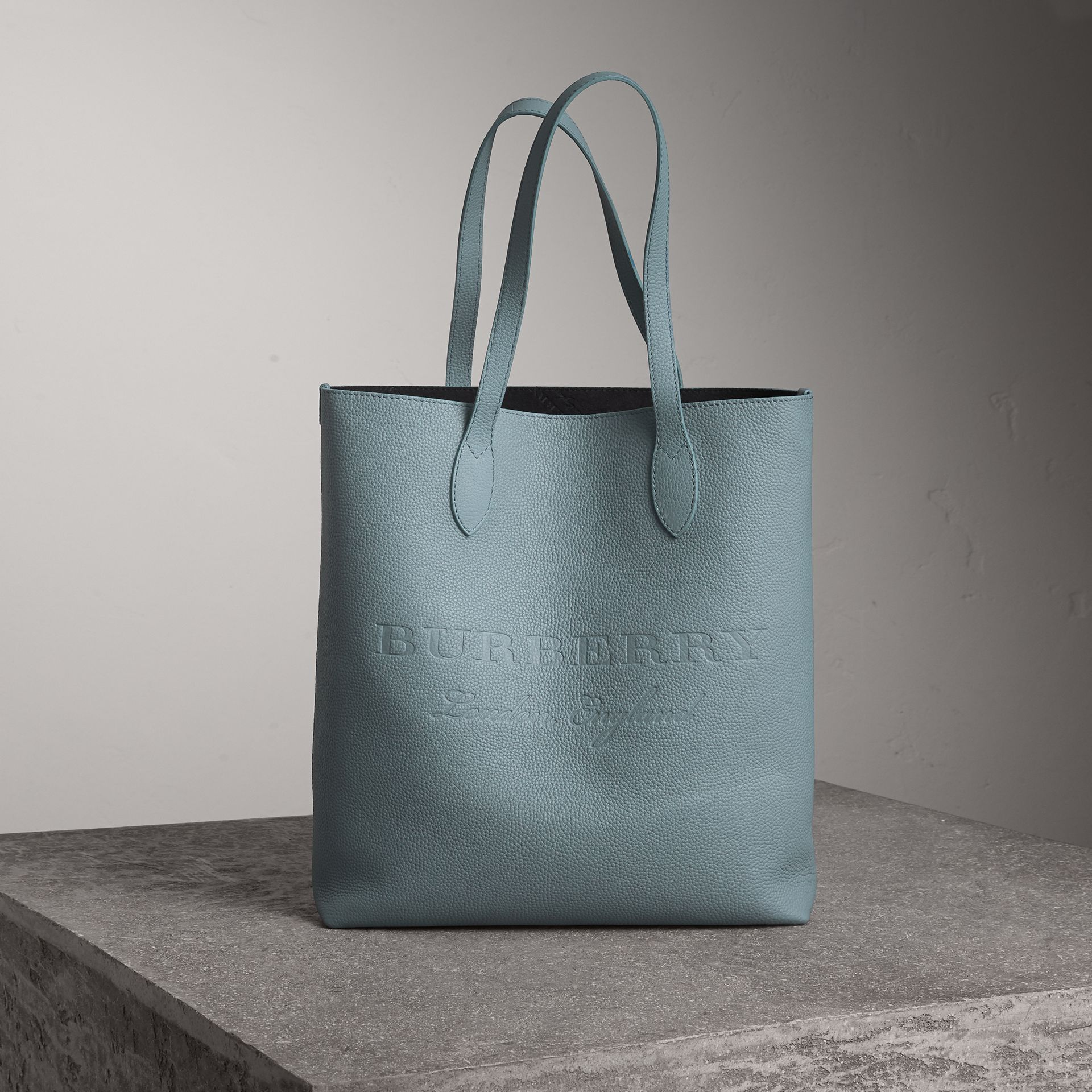 Embossed Leather Tote in Dusty Teal Blue | Burberry - gallery image 0