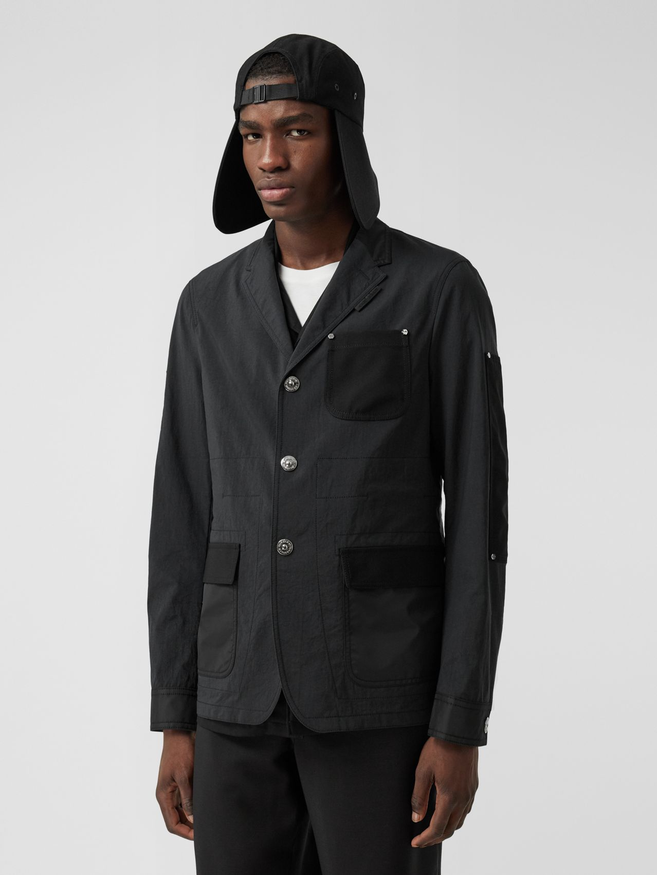 Slim Fit Panelled Nylon and Wool Tailored Jacket in Black