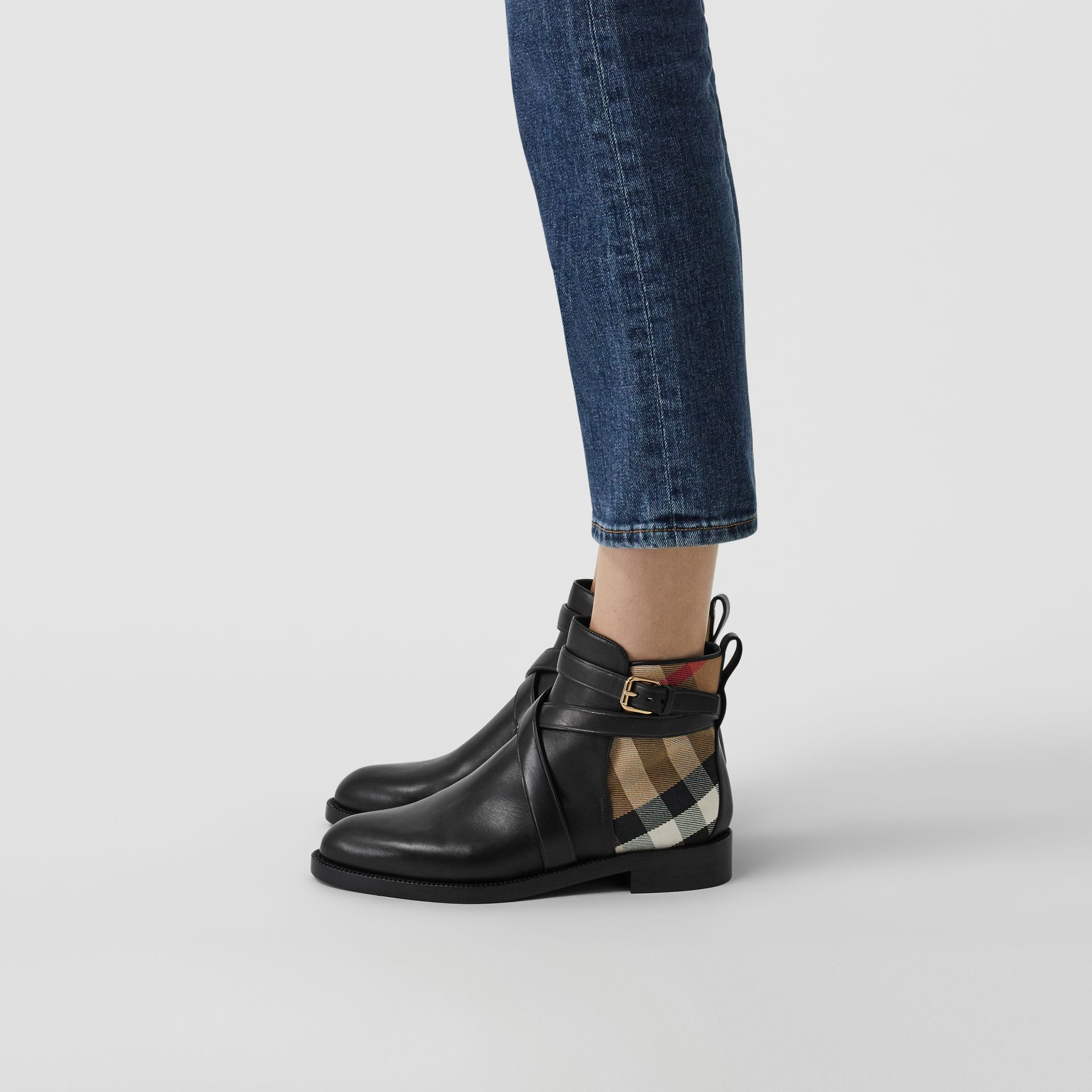 House Check and Leather Ankle Boots in Black - Women | Burberry Australia - gallery image 2