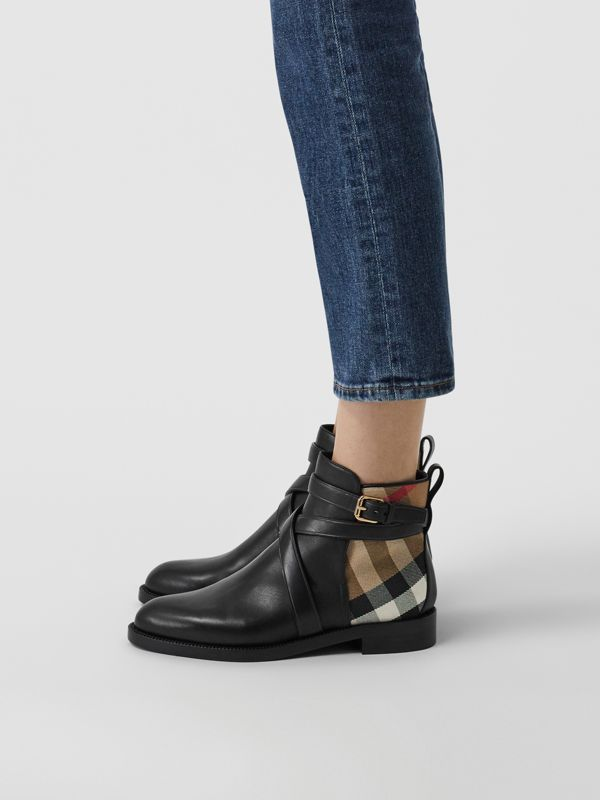 House Check and Leather Ankle Boots in Black - Women | Burberry Australia - cell image 2