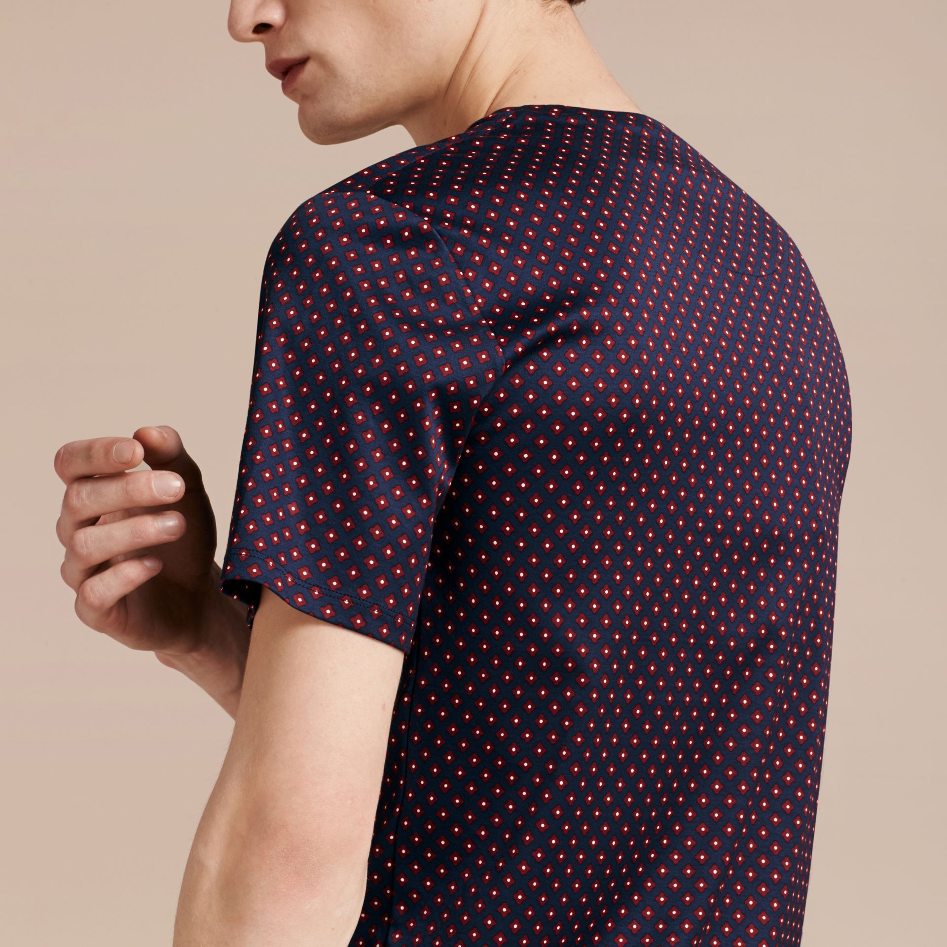 Bright navy Geometric Print Cotton T-Shirt - gallery image 6