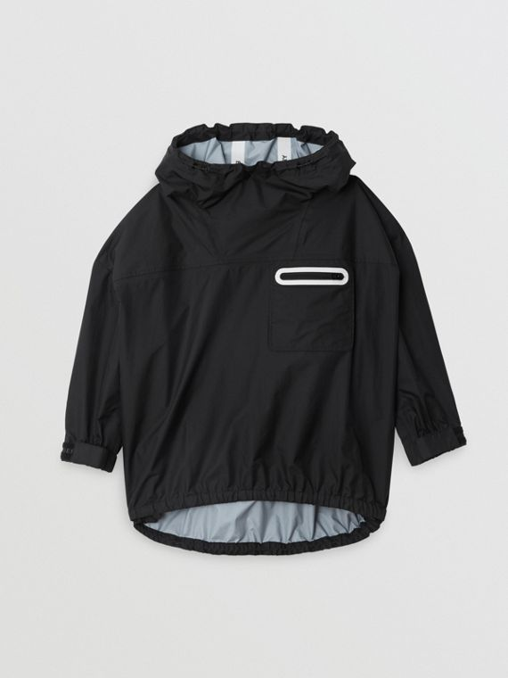 Logo Print Nylon Hooded Jacket in Black