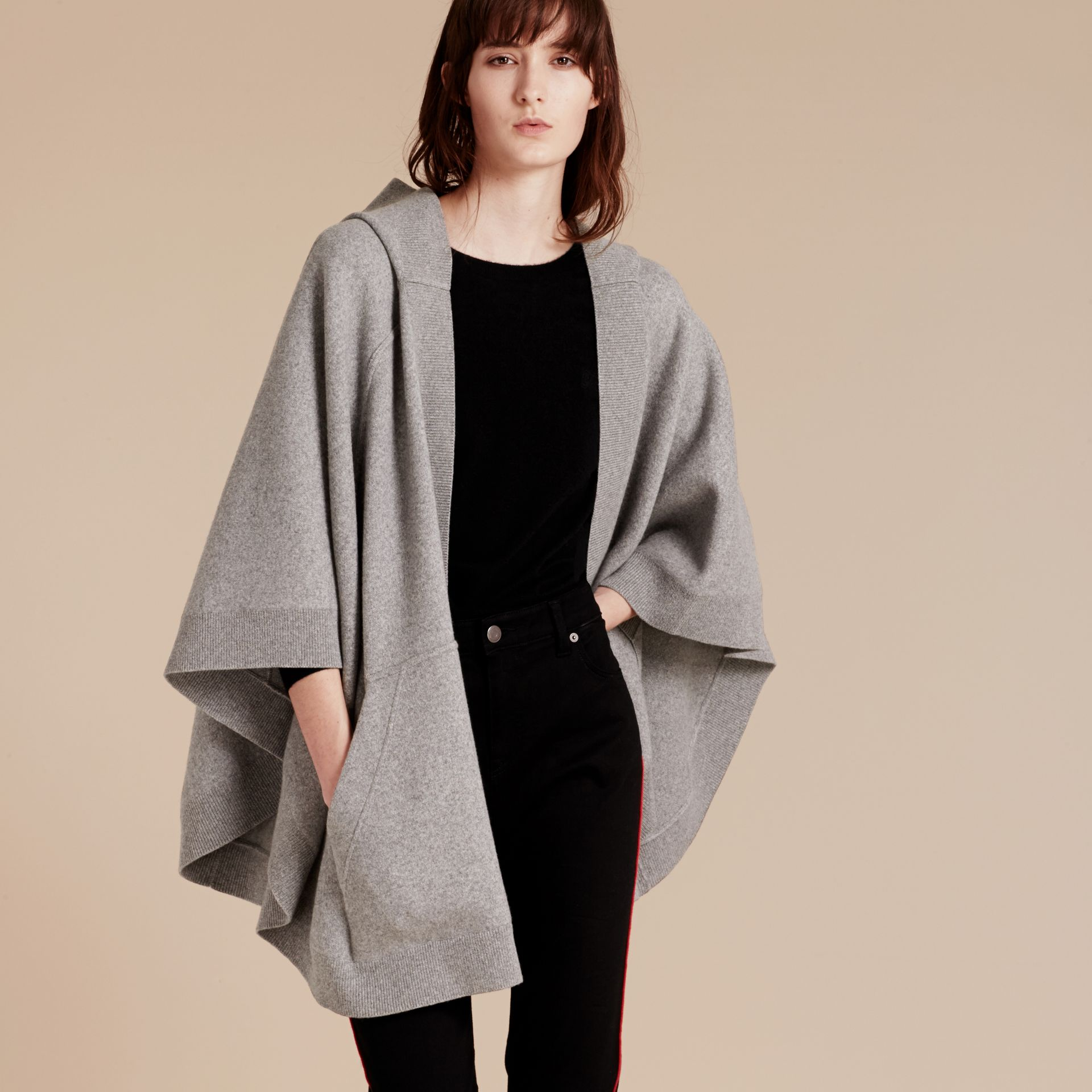 Wool Cashmere Blend Hooded Poncho in Mid Grey Melange - gallery image 7