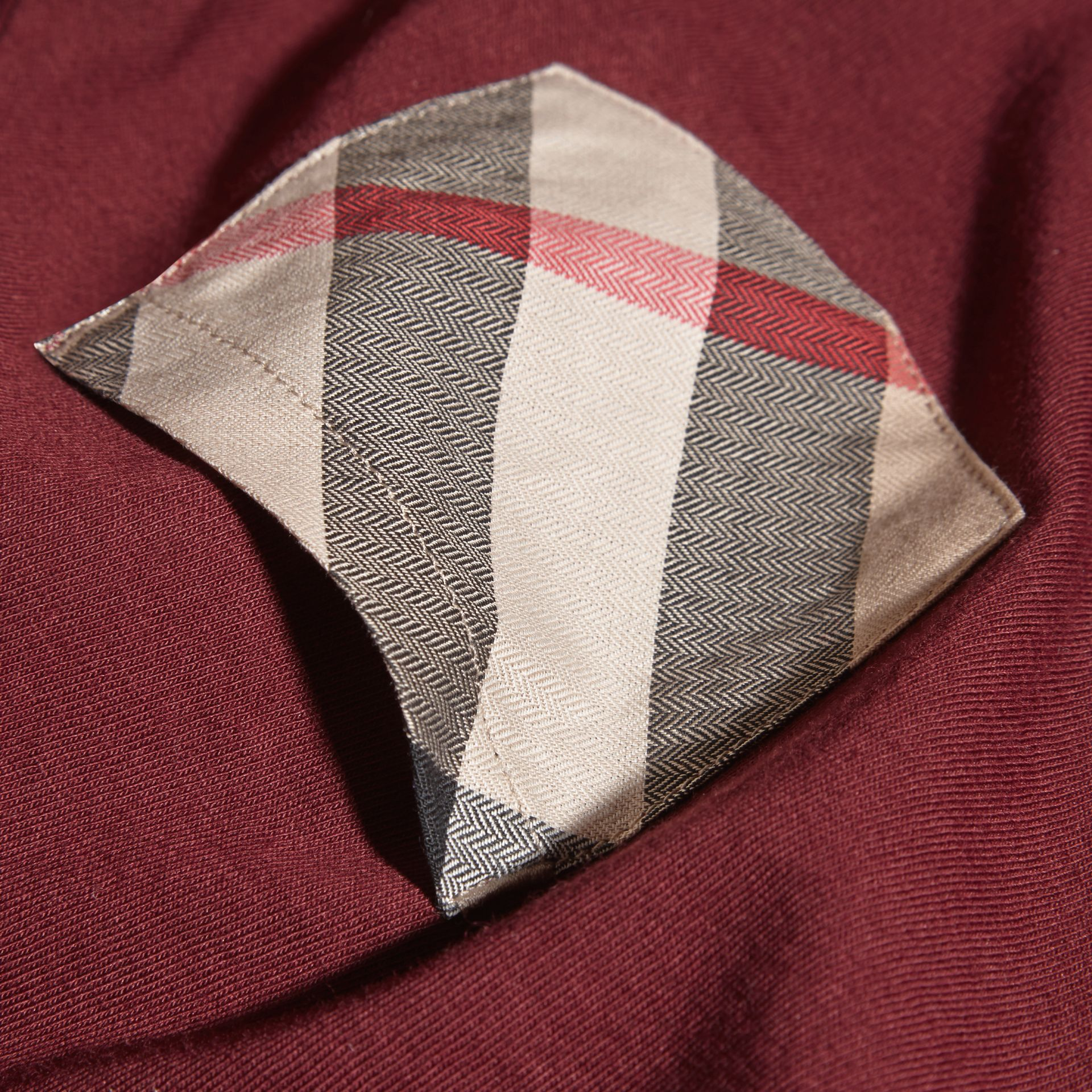 Burgundy red Check Pocket T-Shirt Burgundy Red - gallery image 2