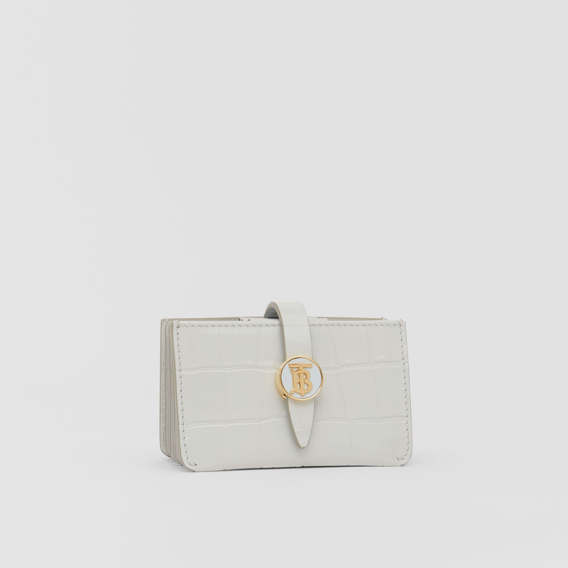 Monogram Motif Embossed Leather Card Case in Light Pebble Grey - Women | Burberry - gallery image 5