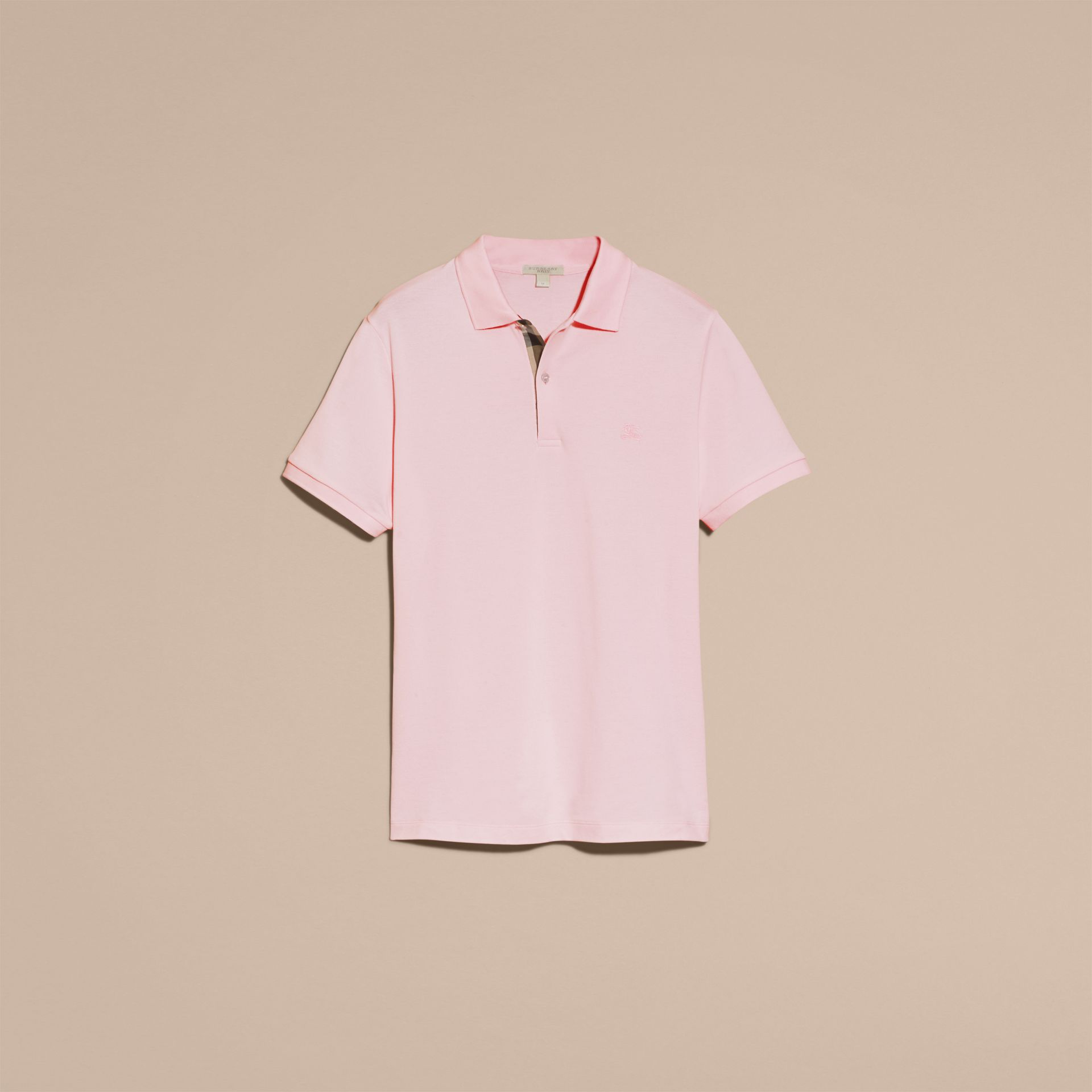Polo en piqué de coton avec patte à motif check Rose Dragée - photo de la galerie 4