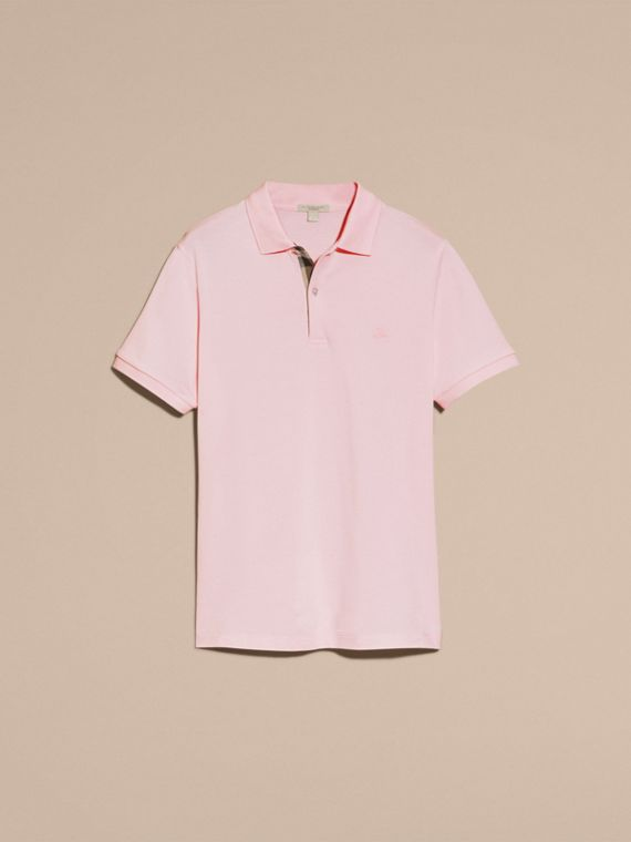 Check Placket Cotton Piqué Polo Shirt in City Pink - cell image 3