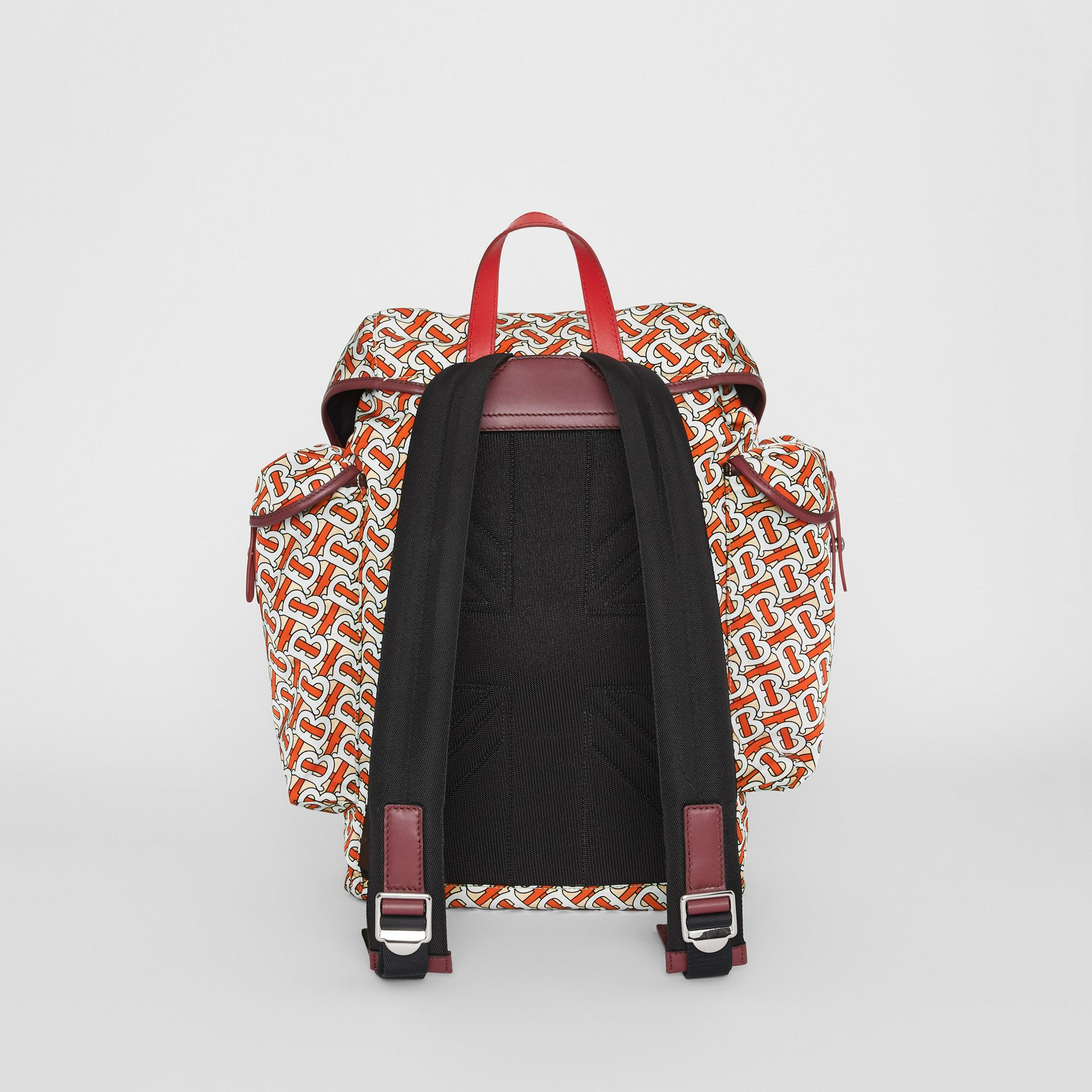 Medium Leather Trim Monogram Print Backpack in Vermilion - Men | Burberry United Kingdom - gallery image 7