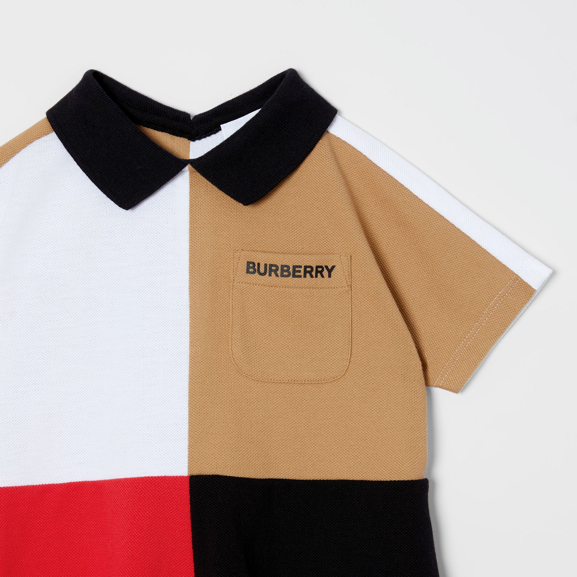 Colour Block Knit Cotton Polo Shirt Dress in Multicolour - Children | Burberry - gallery image 4