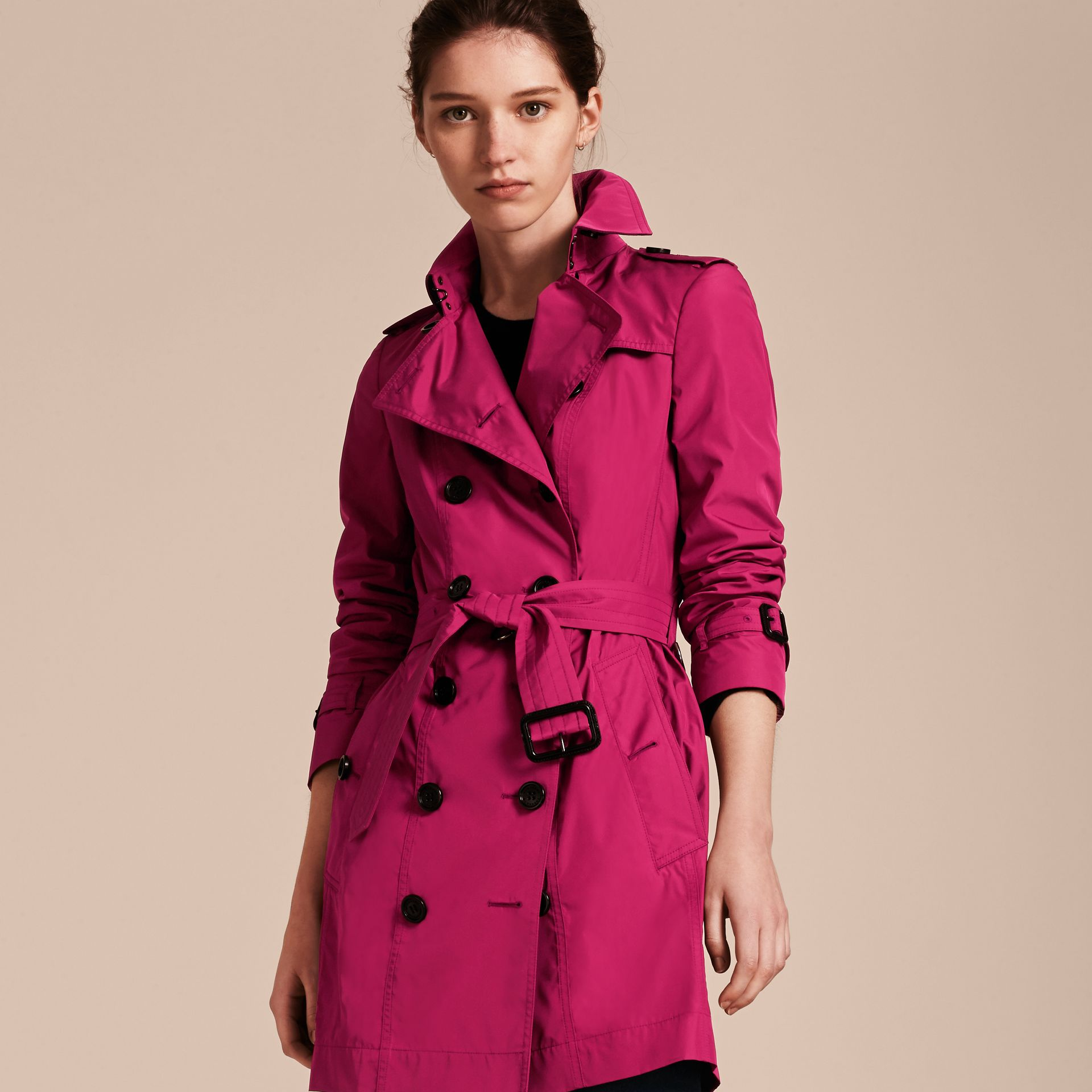 Mid-length Technical Trench Coat Damson Magenta - gallery image 7