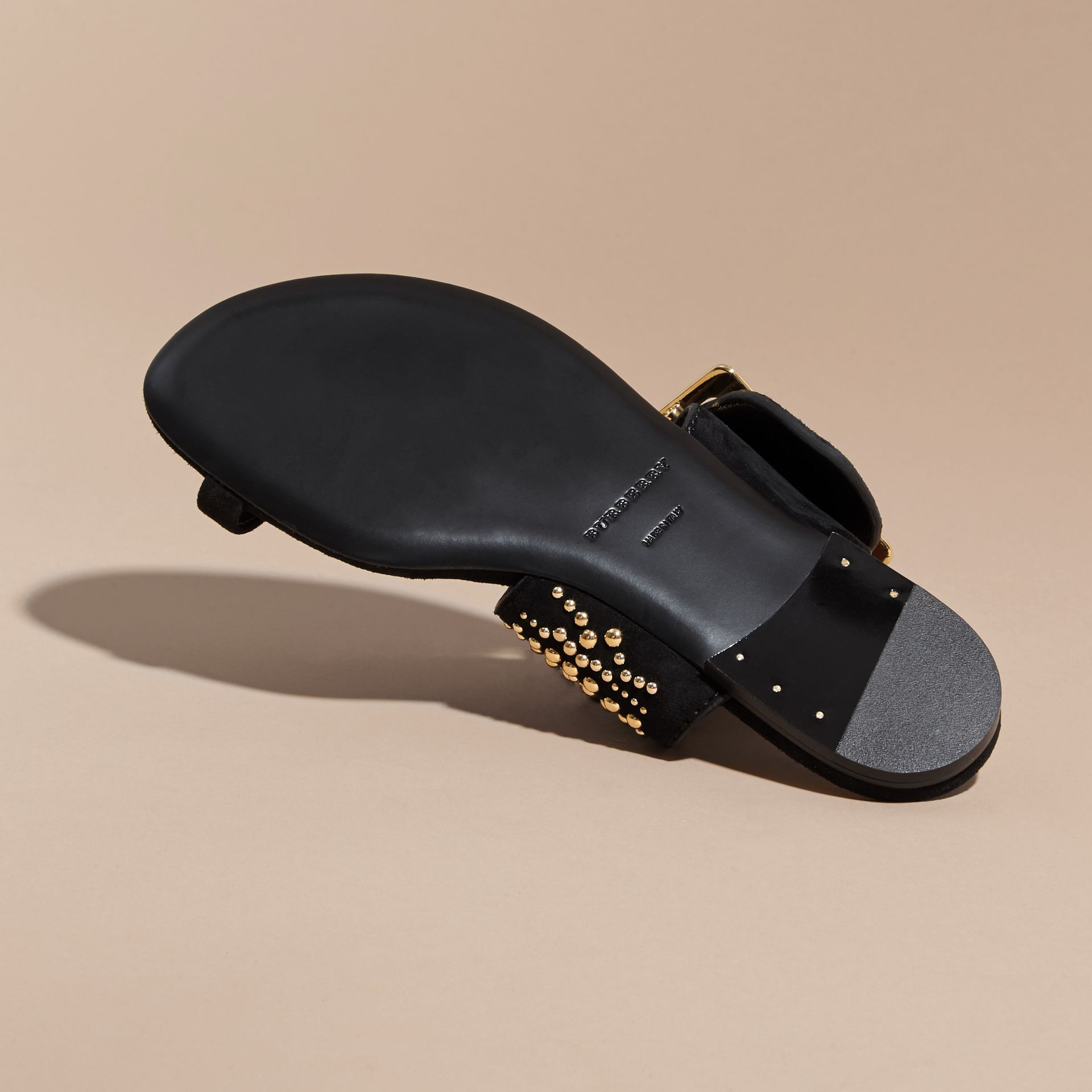 Studded Suede Sandals with Buckle Detail in Black - Women | Burberry - gallery image 6