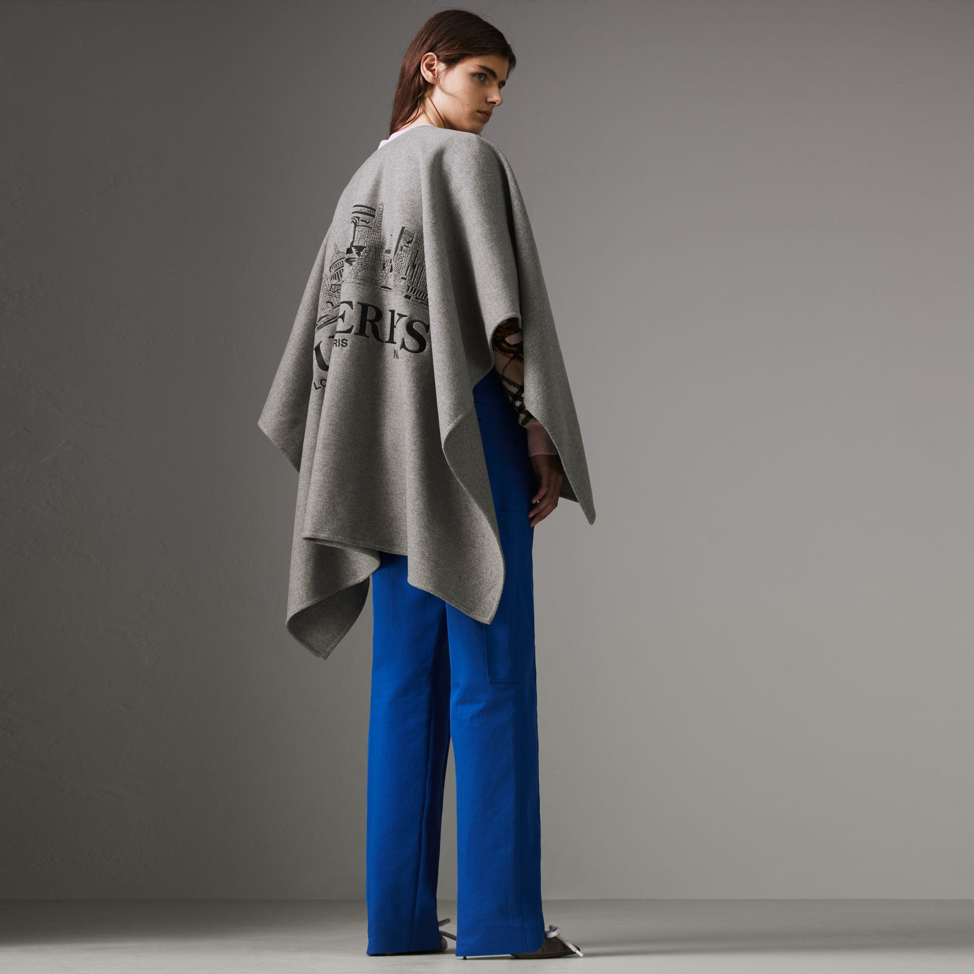 Embroidered Skyline Cashmere Poncho in Pale Grey Melange - Women | Burberry Singapore - gallery image 0