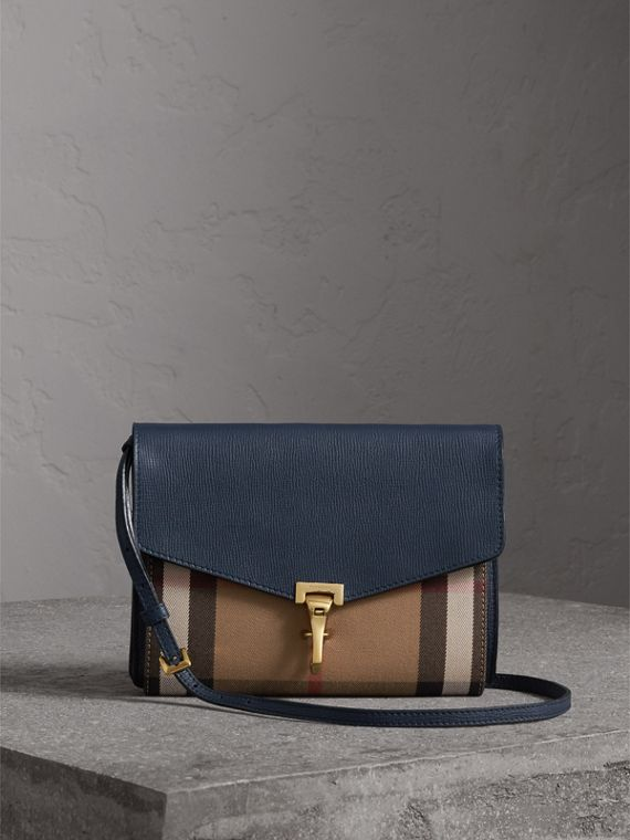 Small Leather and House Check Crossbody Bag in Ink Blue - Women | Burberry
