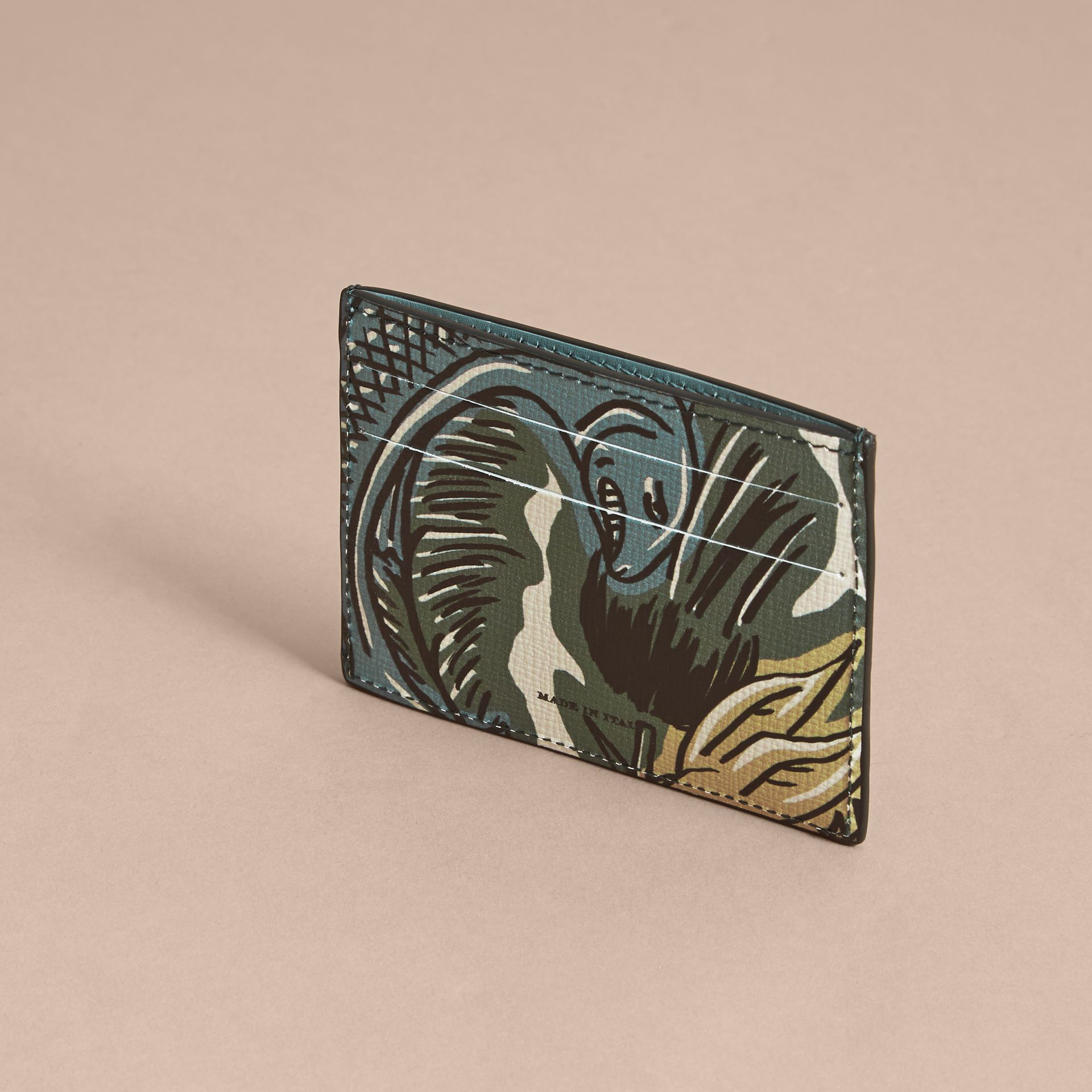 Beasts Print Leather Card Case in Sage Green - Men | Burberry - gallery image 3