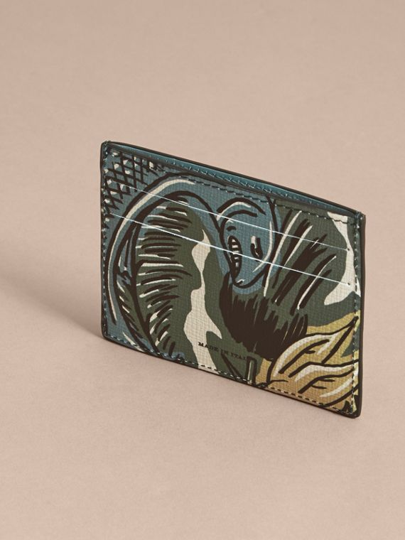 Beasts Print Leather Card Case in Sage Green - Men | Burberry - cell image 2