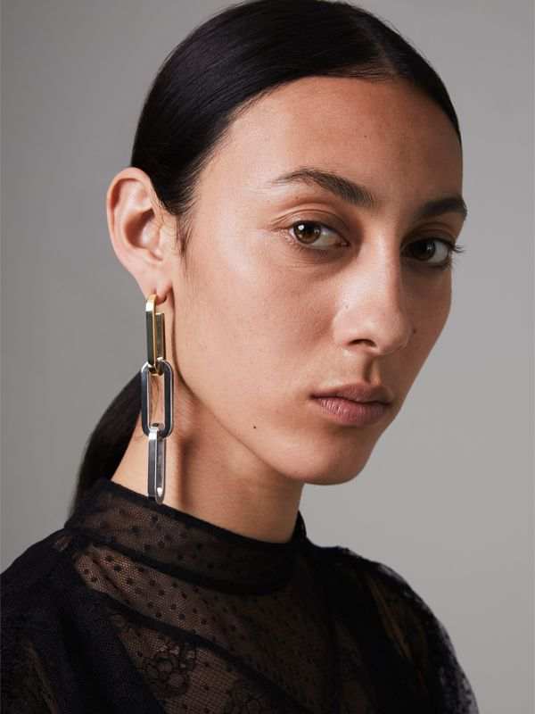 Gold and Palladium-plated Double-link Drop Earring in Light - Women | Burberry - cell image 2
