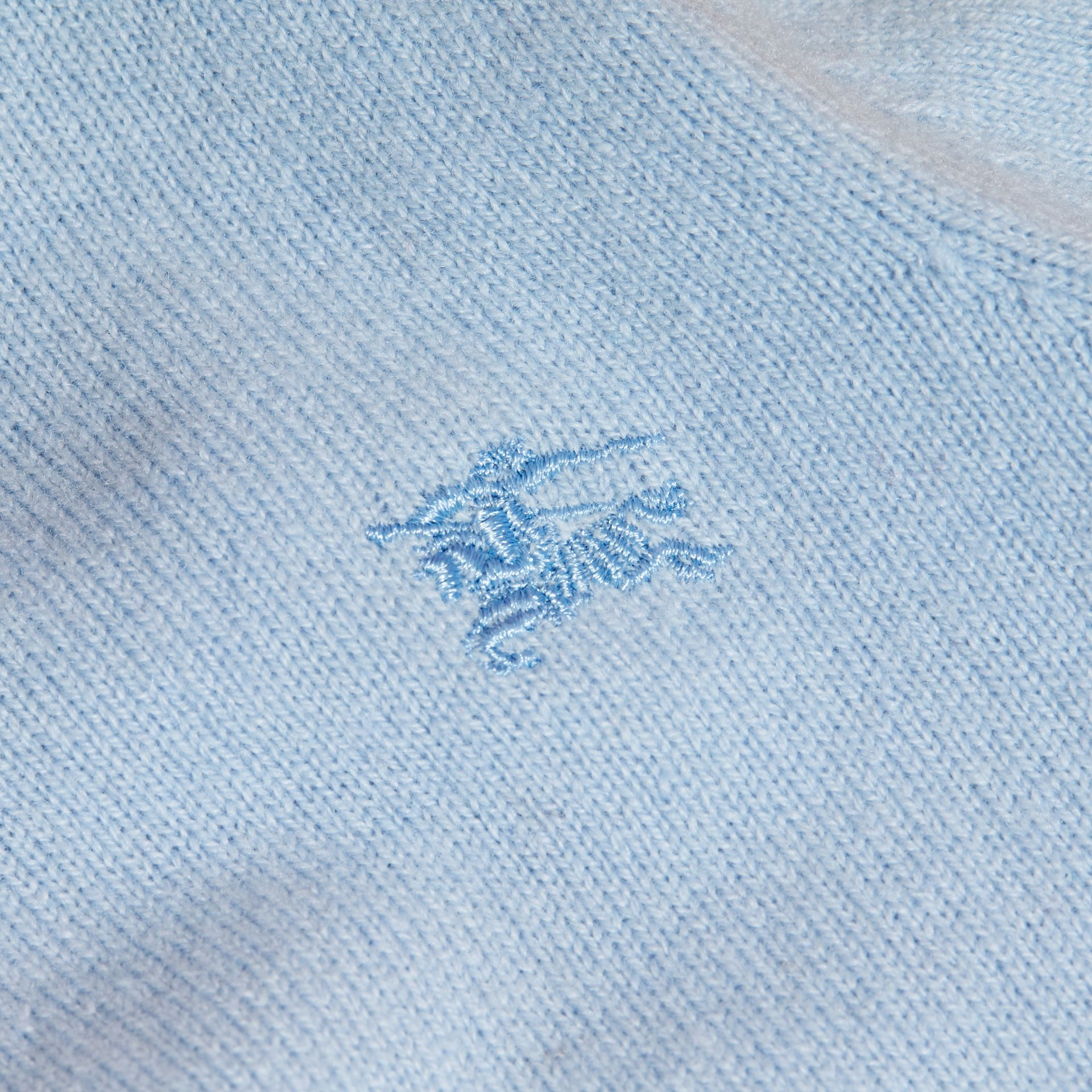 Pale cornflower blue Check Detail Cashmere Sweater Pale Cornflower Blue - gallery image 2