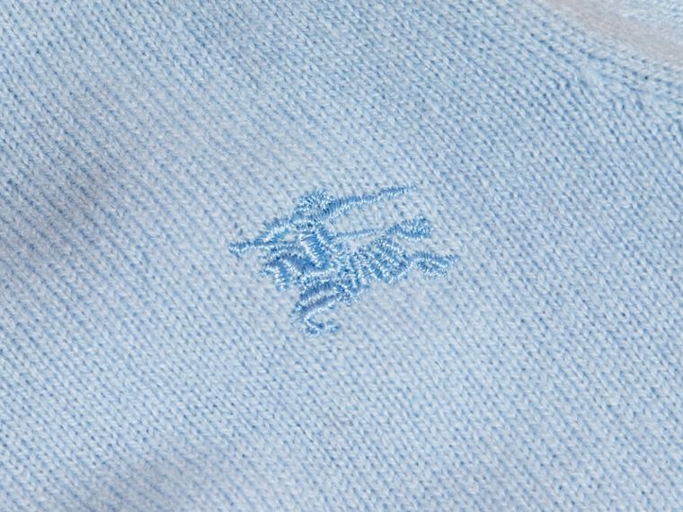Check Detail Cashmere Sweater in Pale Cornflower Blue - cell image 1