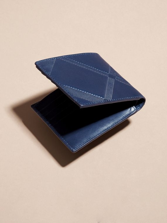 Lapis blue Check-embossed Leather Folding Wallet Lapis Blue - cell image 2