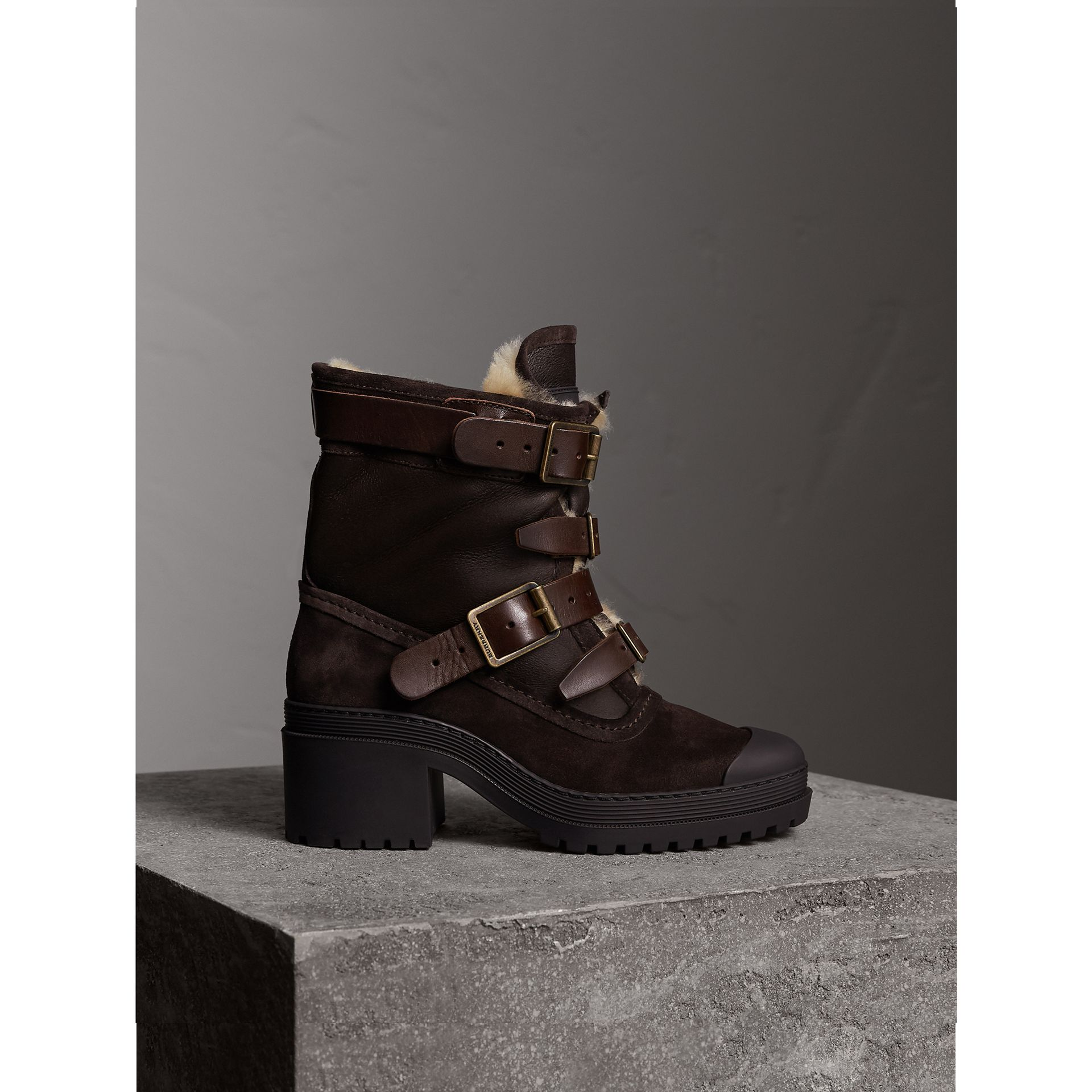 Buckle Detail Suede and Shearling Boots in Charcoal Brown - Women | Burberry Singapore - gallery image 1