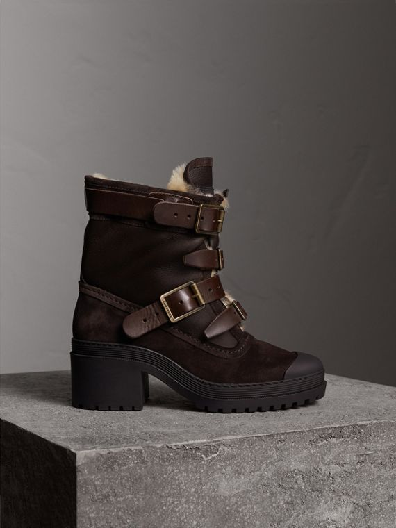 Buckle Detail Suede and Shearling Boots in Charcoal Brown