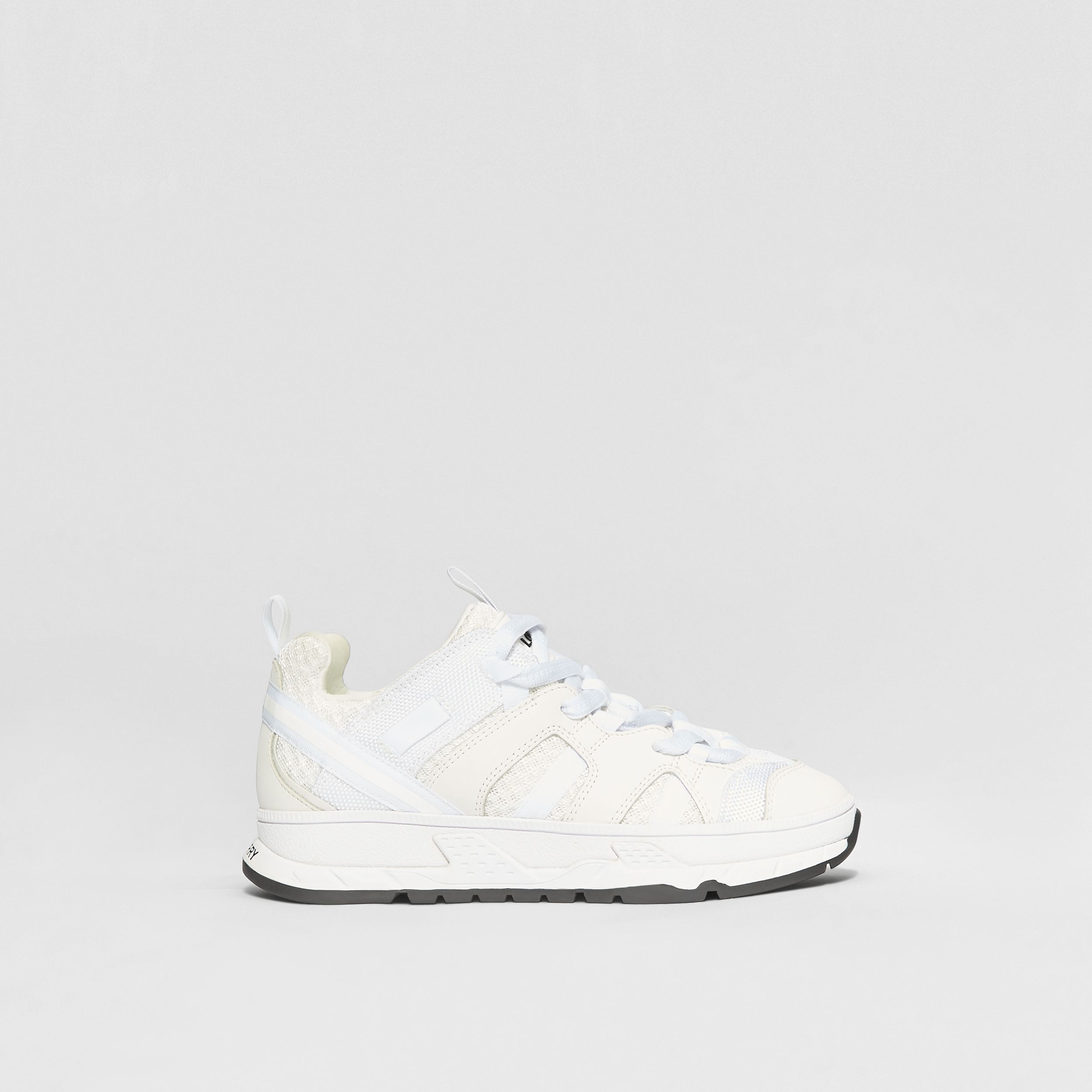 Mesh and Nubuck Union Sneakers in Optic White - Children | Burberry - 4