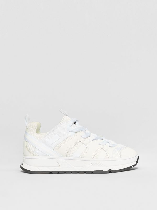 Mesh and Nubuck Union Sneakers in Optic White - Children | Burberry - cell image 3