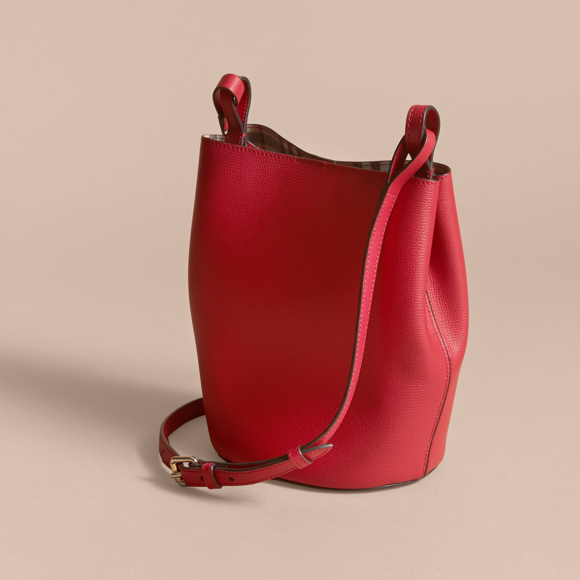 Leather and Haymarket Check Crossbody Bucket Bag in Poppy Red - Women | Burberry - gallery image 4