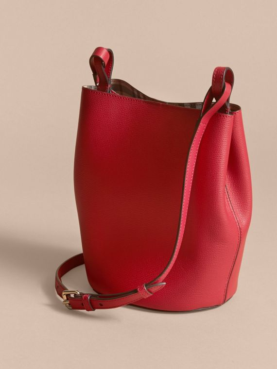 Leather and Haymarket Check Crossbody Bucket Bag in Poppy Red - Women | Burberry - cell image 3