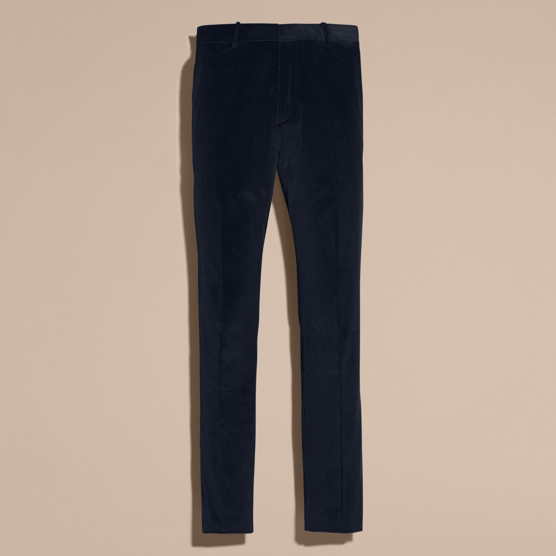 Navy Slim Fit Cotton Corduroy Trousers Navy - gallery image 4