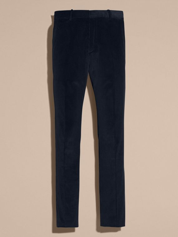 Navy Slim Fit Cotton Corduroy Trousers Navy - cell image 3