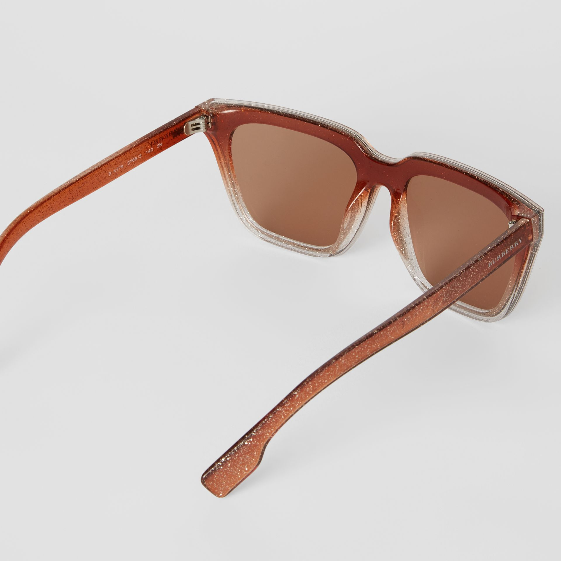 Glitter Detail Square Frame Shield Sunglasses in Pink - Women | Burberry Singapore - gallery image 4