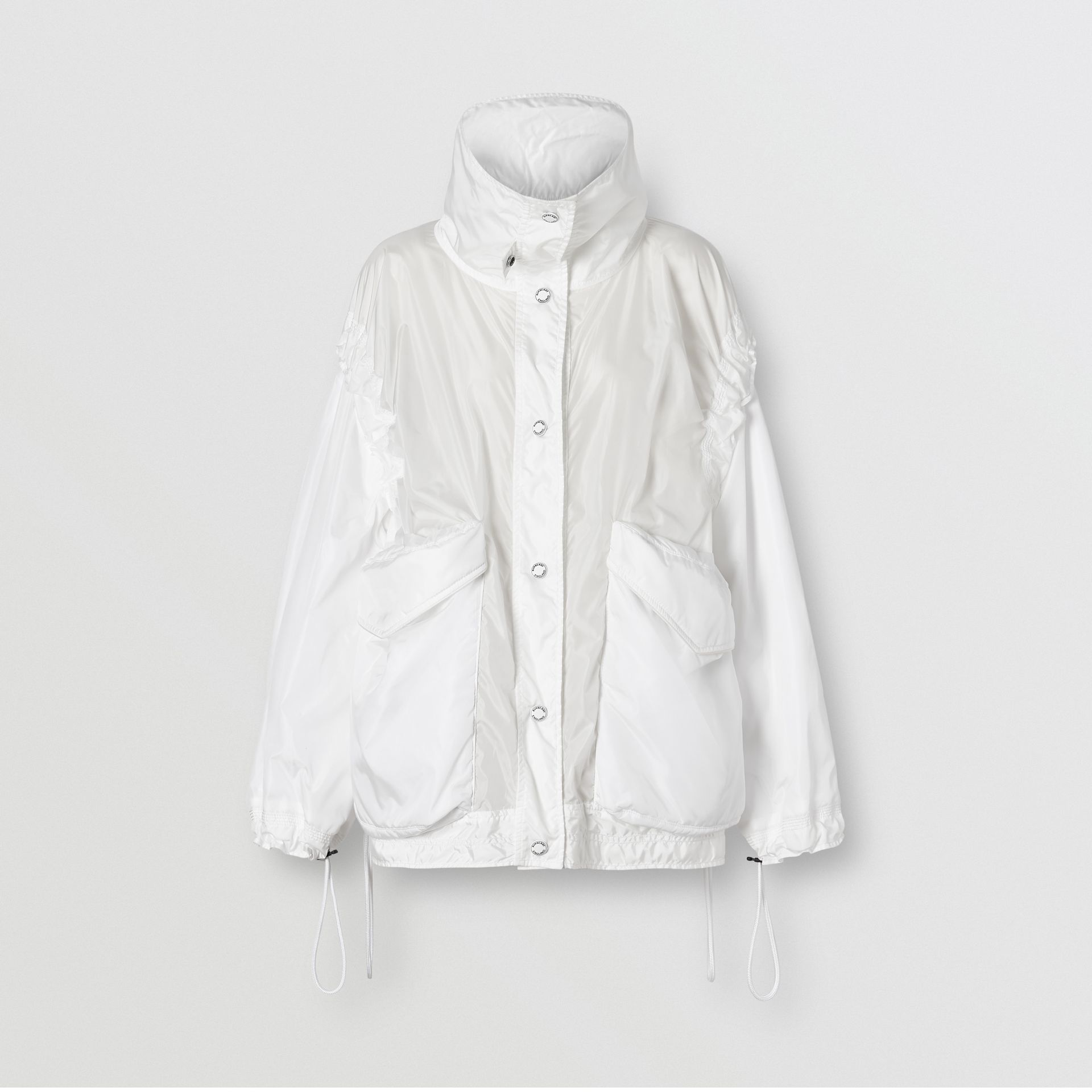Drawcord Detail Logo Print Lightweight Jacket in White - Women | Burberry - gallery image 3