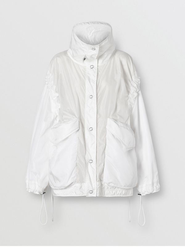 Drawcord Detail Logo Print Lightweight Jacket in White - Women | Burberry - cell image 3