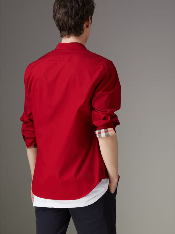 Check Detail Stretch Cotton Poplin Shirt in Bright Red - Men | Burberry - cell image 2