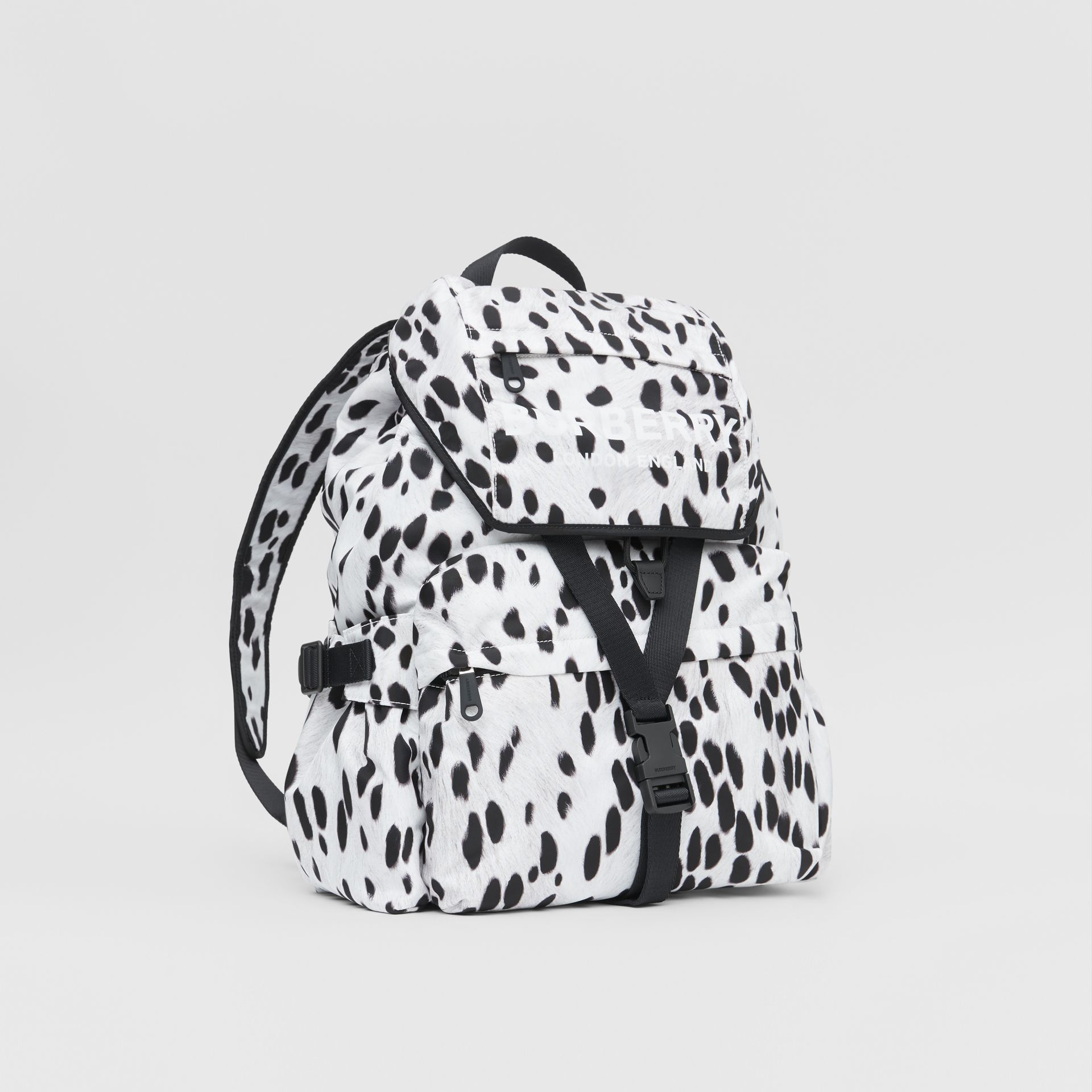 Logo and Dalmatian Print Nylon Backpack in Black - Women | Burberry - gallery image 6