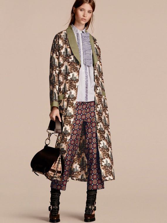 Castle Print Silk Twill Dressing Gown Coat